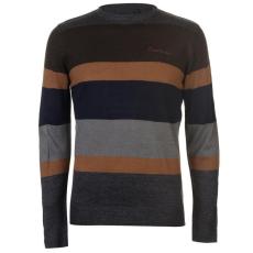 Pierre Cardin Large Stripe férfi pulóver, szénszürke - Pierre Cardin Large Stripe Knitted Jumper