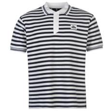 Lonsdale férfi ingpóló Yarn Dye Stripe, fehér/kék - Lonsdale Yarn Dye Stripe Polo Shirt Mens