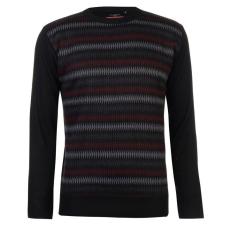 Pierre Cardin férfi pulóver, fekete/szénszürke/burgundi - Pierre Cardin Geo Knit Jumper Mens