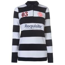 Requisite női hosszú ujjú felső - Requisite Striped Rugby Top - sötétkék/fehér