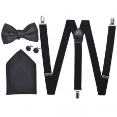 vidaXL Férfi szmoking kiegészítők- nadrágtartó & nyakkendő szett fekete