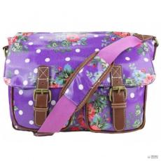 Miss Lulu London L1107F - Miss Lulu Oilcloth táska Flower Polka Dot lila