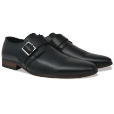 vidaXL Fekete férfi csatos cipő 42-es méret PU bőr