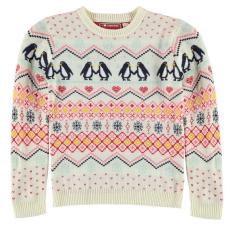 Star Xmas gyerek pulóver - krémszínű/pingvin - Star Xmas Knitted Jumper Junior Girls
