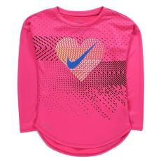 Nike kisgyermek hosszú ujjú felső - hyper pink - Nike Heart Geo LS T Shirt Infant Girls