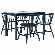 5 darabos fekete tömör kaucsukfa étkezőszett bútor