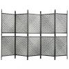5 paneles antracitszürke polyrattan paraván 300 x 200 cm