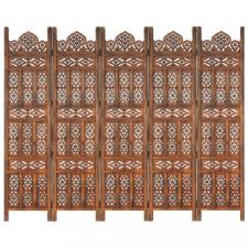 5-paneles barna mangófa kézzel faragott térelválasztó 200x165cm bútor