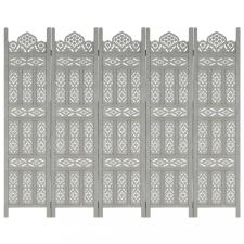 5-paneles szürke mangófa kézzel faragott térelválasztó 200x165cm bútor