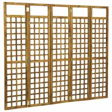 5-paneles tömör akácfa szobaelválasztó/paraván 200 x 170 cm bútor