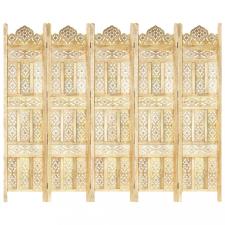 5-paneles tömör mangófa kézzel faragott térelválasztó 200x165cm bútor