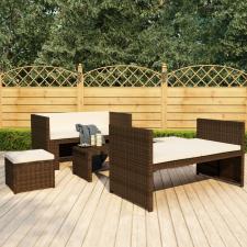 5 részes barna polyrattan kerti ülőgarnitúra párnákkal kerti bútor