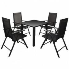 5-részes fekete kültéri összecsukható alumínium étkezőgarnitúra kerti bútor