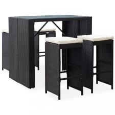 5 részes fekete polyrattan és üveg kültéri bárgarnitúra kerti bútor