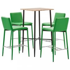 5-részes zöld műbőr bárszett kerti bútor