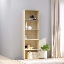 5-szintes fehér és sonoma forgácslap könyvszekrény 60x30x189 cm bútor
