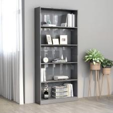 5-szintes fényes szürke forgácslap könyvszekrény 80x24x175 cm bútor