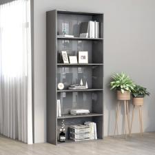 5 szintes fényes szürke forgácslap könyvszekrény 80x30x189 cm bútor
