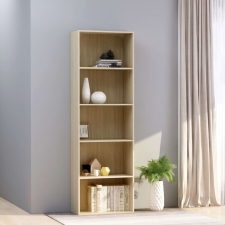 5-szintes sonoma színű forgácslap könyvszekrény 60x30x189 cm bútor