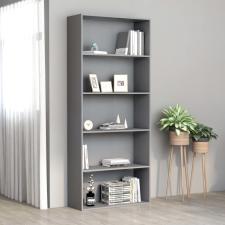 5-szintes szürke forgácslap könyvszekrény 80 x 30 x 189 cm bútor