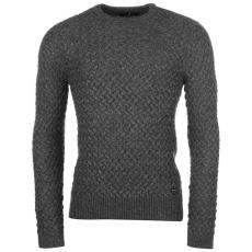 Firetrap Texture férfi kötött pulóver sötétszürke L