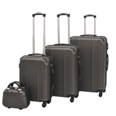 vidaXL 4 darabos, antracit, kemény fedeles, görgős bőrönd szett
