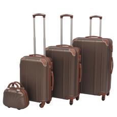 vidaXL 4 darabos, kávészínű, kemény fedeles, görgős bőrönd szett