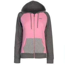 Lee Cooper női cipzáras pulóver - Lee Cooper Colour Block Zip Through Hoody Ladies Pink