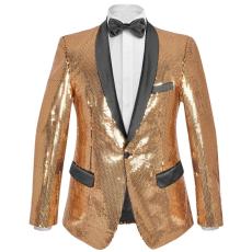 vidaXL férfi szmoking arany flitteres blézer 48-as méret