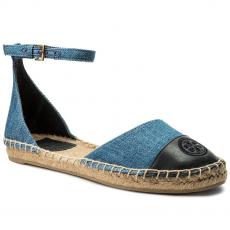 Tory Burch Espadrilles TORY BURCH - Color Block Ankle-Strap Espadrille 46769 Denim Chambray/Perfect Navy 435