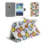 Bőrtok, Samsung Galaxy Tab 3 7.0 SM-T210 / P3200, mappa tok, virágmintás, fehér