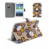 Bőrtok, Samsung Galaxy Tab 3 7.0 SM-T210 / P3200, mappa tok, virágmintás, bézs