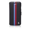 BMW iPhone 6 Plus/6S Plus Motorsport Raceway Split Tricolor Stripe oldalra nyíló tok, sötétkék