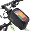 """Hurtel Roswheel Bicycle Frame Pannier biciklis táska telefontartóval: 5,5"""" + Jack kábel méret: L, fekete-kék"""