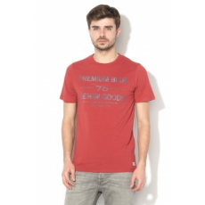 Jack Jones Jack&Jones, Jan Slim-Fit póló szöveges mintával, Téglavörös, XL (12135536-BRICK-RED-XL)