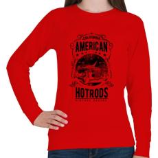 PRINTFASHION Amerikai Hotrods - Női pulóver - Piros