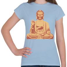 PRINTFASHION Buddha - Női póló - Világoskék