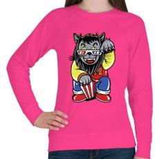 PRINTFASHION Mozis macska - Női pulóver - Fukszia