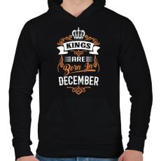 PRINTFASHION A királyok decemberben születnek - Férfi kapucnis pulóver - Fekete
