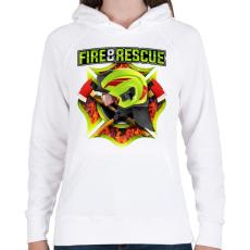PRINTFASHION Fire and Rescue - Női kapucnis pulóver - Fehér
