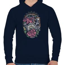 PRINTFASHION Pontos idő  - Férfi kapucnis pulóver - Sötétkék