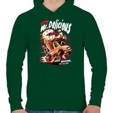 PRINTFASHION Mr Delicious - Férfi kapucnis pulóver - Sötétzöld