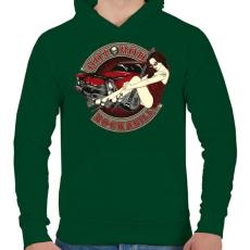 PRINTFASHION Hot road rockabilly - Férfi kapucnis pulóver - Sötétzöld