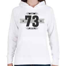 PRINTFASHION b-day-73-dark-lightgrey - Női kapucnis pulóver - Fehér