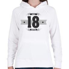 PRINTFASHION b-day-18-dark-lightgrey - Női kapucnis pulóver - Fehér