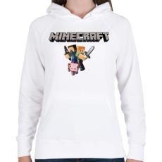 PRINTFASHION Minecraft - Női kapucnis pulóver - Fehér