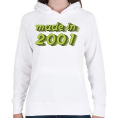 PRINTFASHION made-in-2001-green-grey - Női kapucnis pulóver - Fehér