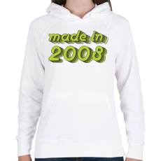 PRINTFASHION made-in-2008-green-grey - Női kapucnis pulóver - Fehér