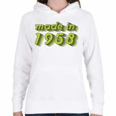PRINTFASHION made-in-1958-green-grey - Női kapucnis pulóver - Fehér