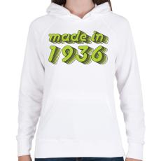 PRINTFASHION made-in-1936-green-grey - Női kapucnis pulóver - Fehér